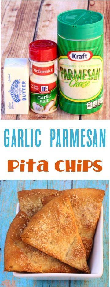 Easy Garlic Parmesan Pita Chips Recipe!  Just 4 ingredients! | NeverEndingJourneys.com