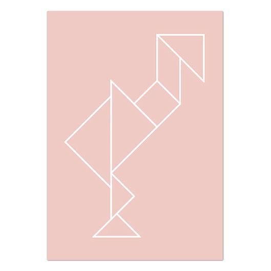 Fleur de muur van de kinderkamer op met deze vrolijke roze flamingo van tangram figuren! De A4 poster staat leuk in een lijstje, in een klembord of met washi-tape aan de muur.