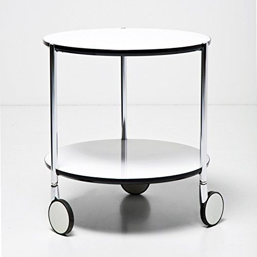 SMALL ROUND SIDE TABLE With Wheels DOPPIO DIA End Design White From XTRADEFACTORY