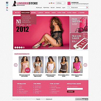 Impressive design offers great product advertising on the main page with effective banners slideshow, animated product listing and products scrollers. Perfect design for fashion and adult industry ecommerce sites.