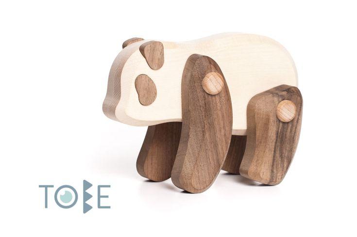 Panda Bear - Power of gentleness.  Walnut and maple wood