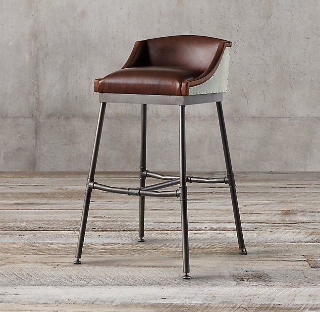 Iron Scaffold Leather Stool $596