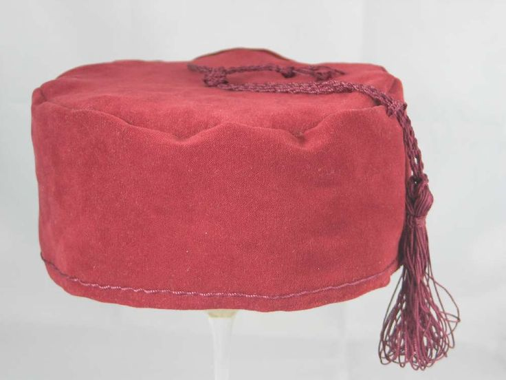 Handmade Smoking Cap - Lounging Hat - Wine Red Faux Suede
