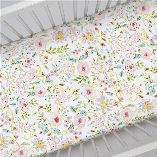 "Crib Fitted Sheet in and Pink Primrose by Carousel Designs.  Our fitted crib sheets feature deep pockets and have elastic all the way around the edges to hug mattresses securely. Fits standard crib mattresses, measuring approximately 28"" x 52""."