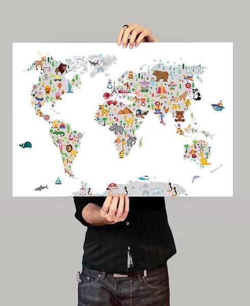 Mejores 64 imgenes de great world map en pinterest mapas del kids world map wall art map poster animal map of the world gumiabroncs Image collections