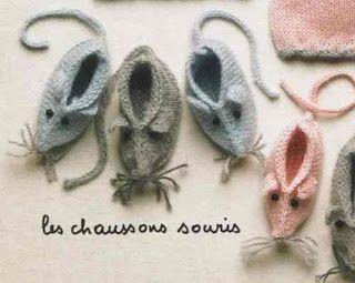 Isabelle Andréo Tricot: tuto chaussons souris                                                                                                                                                                                 Plus