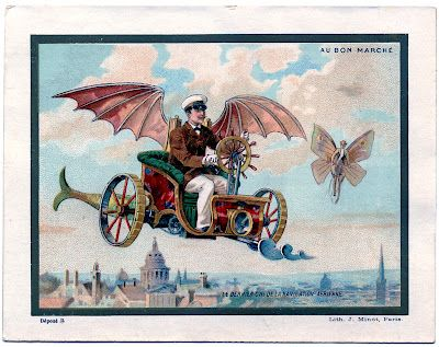 Flying Machine - old Advertising card from a French Department Store