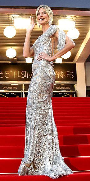 HEIDI KLUM in a fringed Marchesa and Lorraine Schartz gems at Cannes 2012