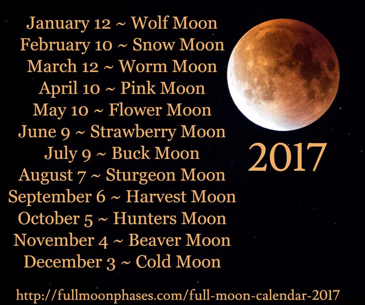 January 12 ~ Wolf Moon February 10 ~ Snow Moon March 12 ~ Worm Moon April 10 ~ Pink Moon May 10 ~ Fl...