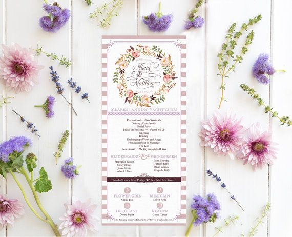 French Country Wedding Programs for a Garden by PaperPeachShop
