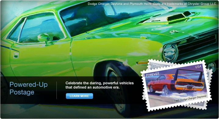Powered-Up Postage. Celebrate the daring, powerful vehicles that defined an automotive era. Learn More. Image of Muscle Cars Forever® Stamps. Background image of the 1970 Plymouth Hemi 'Cuda. Dodge Charger Daytona and Plymouth Hemi 'Cuda are trademarks of Chrysler Group LLC.