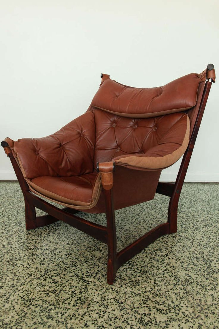Antique lounge chairs - Ingmar Relling For Westnofa Brown Leather Sling Lounge Chair