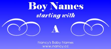Big list of boy names starting with A, second-most-popular first letter for boy names right now. The names link to popularity graphs. #babynames