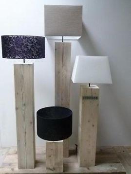 ≥ steigerhouten-vloerlampen- houten vloerlamp - staande lamp - Lampen   Vloerlampen - Marktplaats.nl