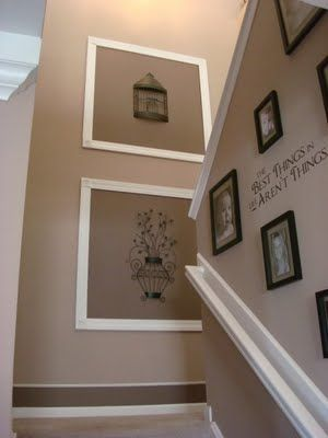 cute staircase ideas - framing wall decals and painting bottom stripe along baseboards