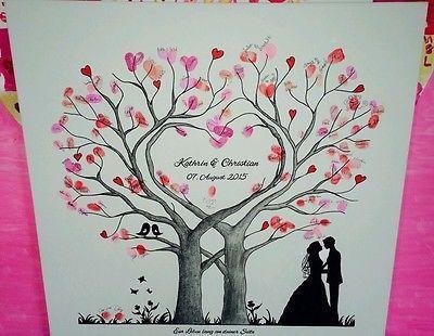 Herz Wedding Tree Hochzeit Baum Gästebuch Fingerabdruck Geschenk Leinwand in