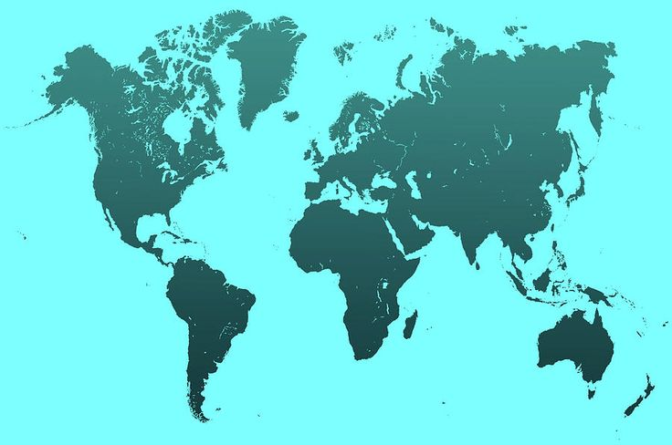 Turquoise World Map Photograph by Jenny Rainbow