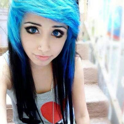 Girls Beautiful black hair with emo