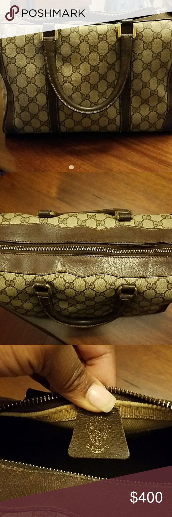 """Authentic Vintage Gucci Bag Brown monogram Boston Bag with Gold hardware  13""""L x 9""""H has patina along trimming and is priced accordingly. This was my very first Gucci bag so it is a bit wore but can be restored. Price is negotiable Gucci Bags"""