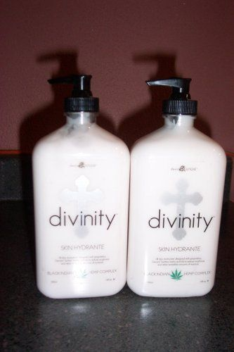 2 Lot 18 Oz Pump Divinity Moisturizer After Tan Lotion by moisturizer. $24.25. 2- 18oz pump bottles of Three Wishes DIVINITY skin hydrante after tan moisturizer. All Day mositurzer with Black Indian Hemp Complex. heal- all natural herbs. Repair- rapid hydration of dry skin and cleanses pores. Moisturizer and Protect- Reduce roughness and dryness and improves skin elasticity. Your skin will be radiant and soft. Wonderful fragrance. This is an excellent product! Highly recommend!!...