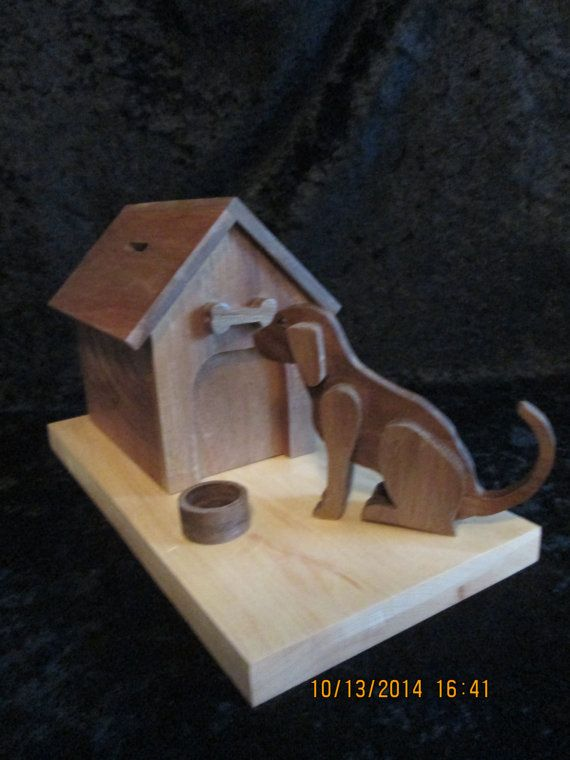 Dog House Bank Solid Wood Hand Made Walnut and by PXWoodNJoys