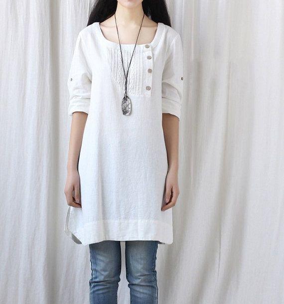 Spring women tunic blouse long shirt dress by MaLieb on Etsy, $86.00
