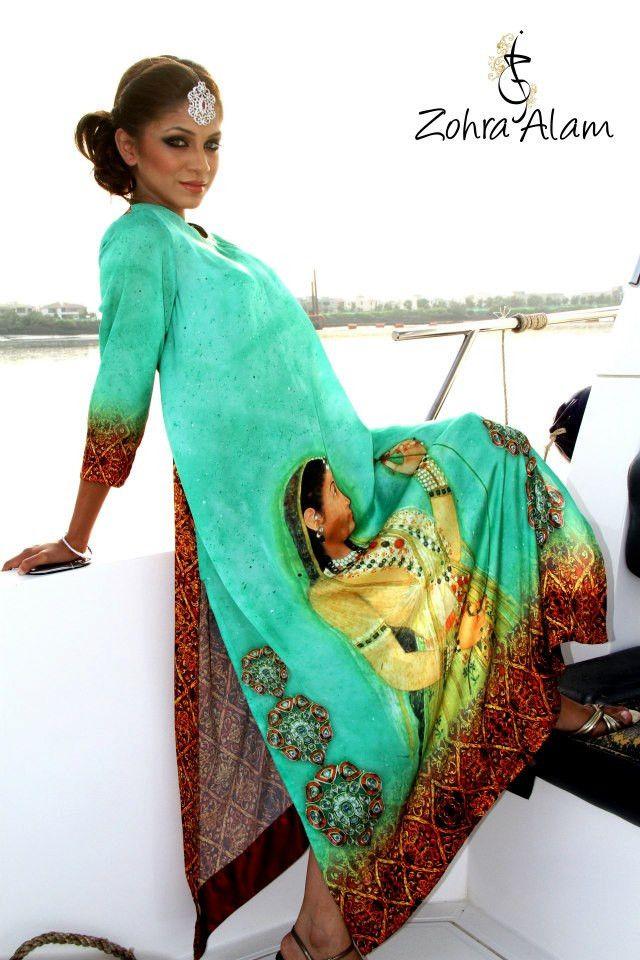 Turquoise Printed Silk Tunic #Tunic #Pakistani #Designer