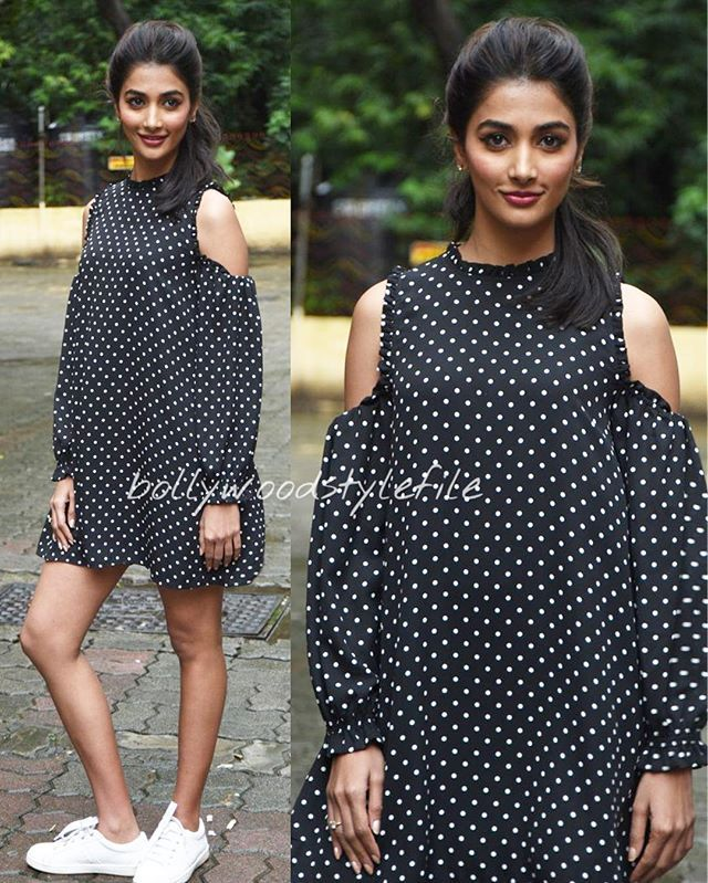 Pooja Hegde in a Zara Dress for Mohenjodaro promotions @bollywoodstylefile…
