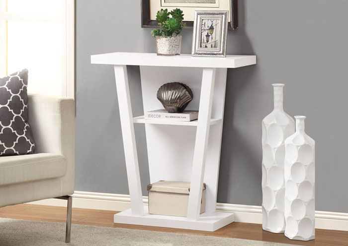 Table console d'appoint de couleur blanc / White finished hall console accent table