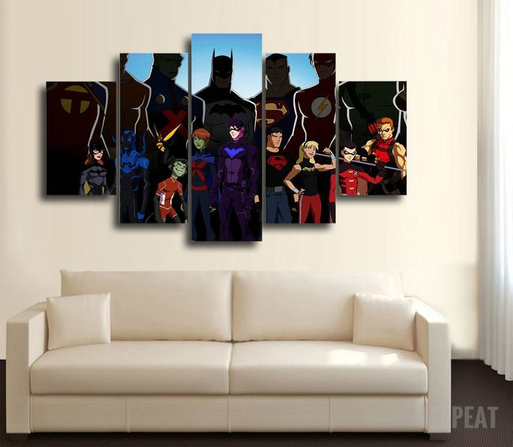 The Justice League (Animated Version) 5 Pc Canvas