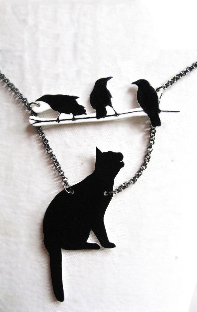Cat Jewelry with Birds Necklace Silhouette Pet by whatanovelidea, $32.00