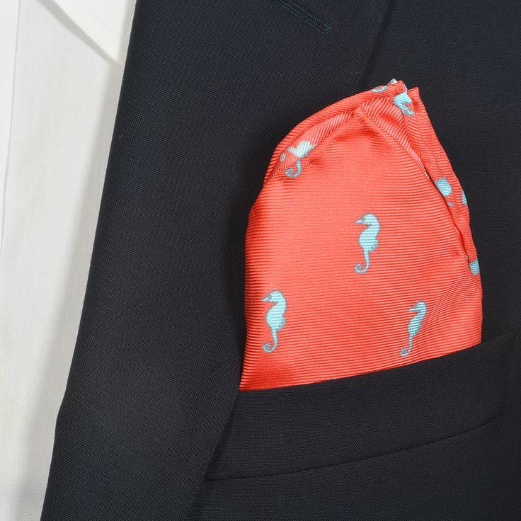 Sea Horse Coral Pink Pocket Square 100% Silk, Hand Made SummerTies.com Instagram:SummerTies2012 #pocketsquare #pocketsquares #dapper #mensfashion #mensstyle #prep #preppy #ootd #summer #summerties #bowties #neckties