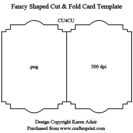 Fancy Shaped Cut Fold Card Template on Craftsuprint designed by Karen Adair - This fancy shaped cut