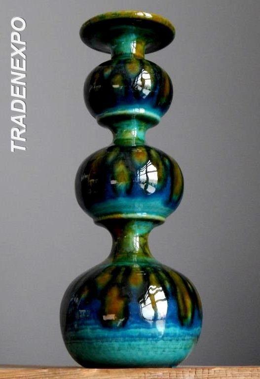 RETRO Tall 11''Vintage 60-70's CARSTENS Candle Holder W.German Fat Lava Vase Era