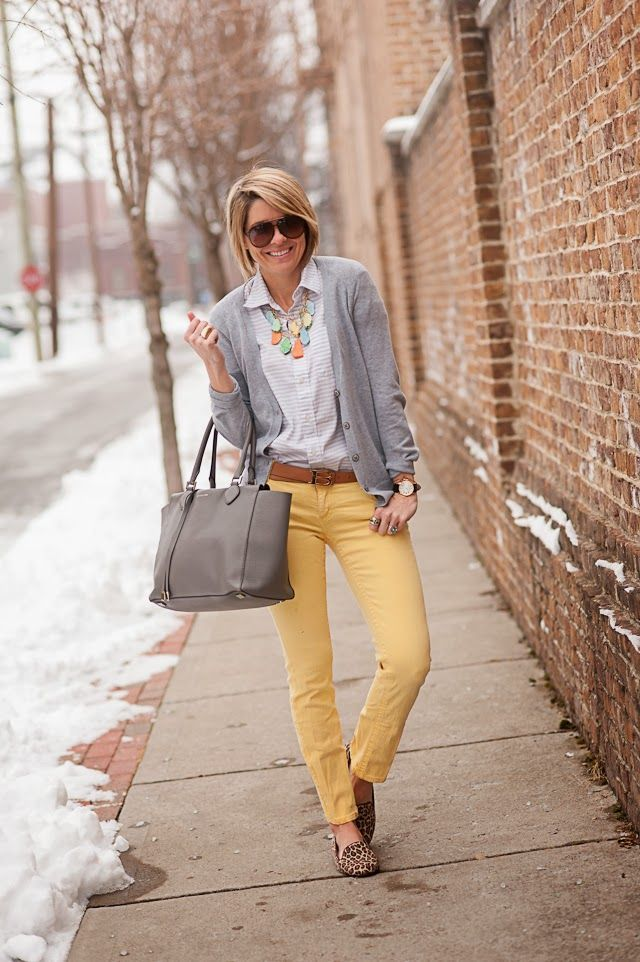 Colored skinnies and a neutral cardigan