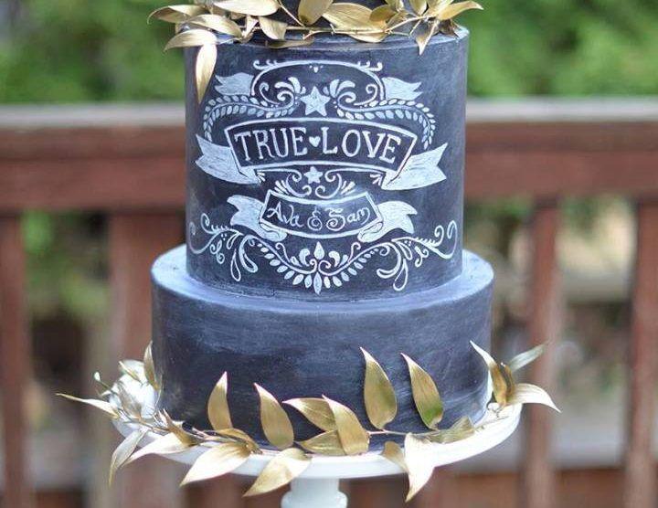 Ideias de bolo de casamento com efeito lousa!