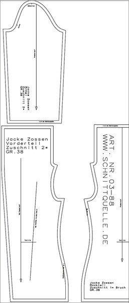 Oberteile & Jacken - Schnittmuster: Jacke Zossen (03-88) - ein Designerstück von schnittquelle bei DaWanda
