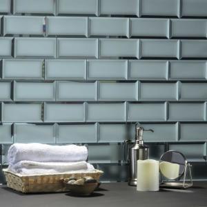 ABOLOS Diamond 4 in. x 12 in. Blue Gray Glass Mirror Peel and Stick Decorative Bathroom Wall Tile Backsplash (16.2 Sq.Ft./Case), Gray/Blue