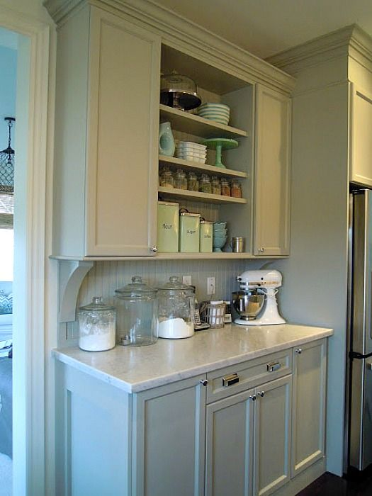 kitchen makeover: baking center with Martha Stewart's Bedford Gray cabinet paint (also concealed a bulkhead to look like moldings on cabinets) marble counters and butcher block island top from ikea