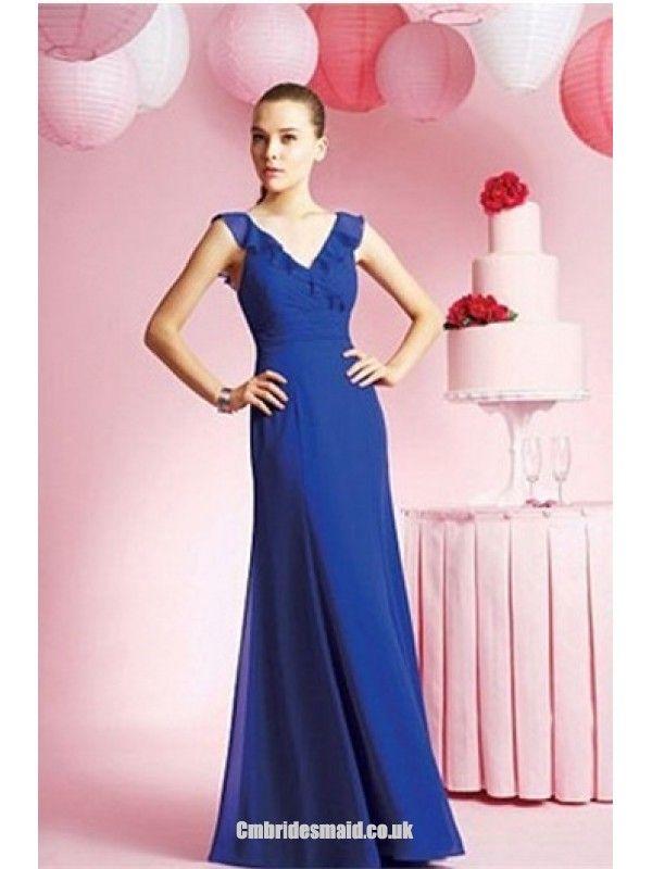 2013 Floor-Length Chiffon V-neck Fall Uk Bridesmaid Dress fashionweddingdress