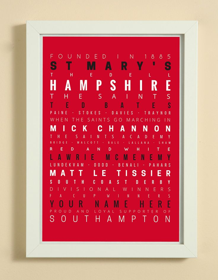 Southampton Football Club Word Art Design Print - Words, Names And Facts Associated With Southampton FC - In White Or Black A4 Box Frame