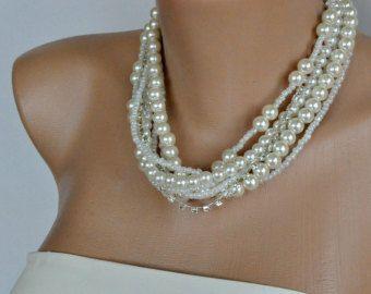 Bodas perla collar Vintage Plata Flor nupcial por mylittlebride