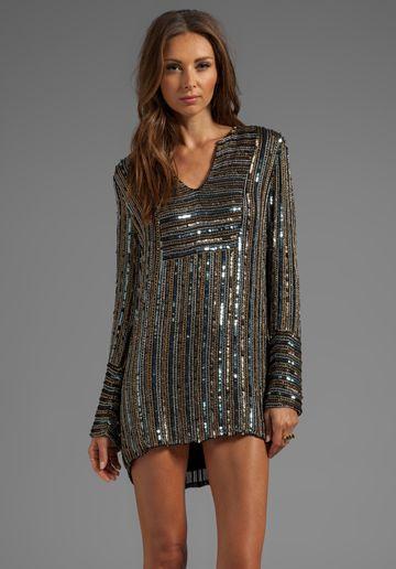 10 CROSBY DEREK LAM Digital Sequins Long Sleeve Dress in Gold