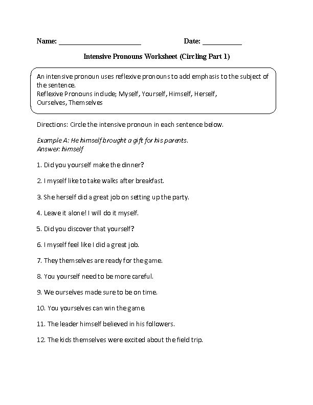 Worksheets Reflexive And Intensive Pronouns Worksheet 1000 images about pronoun fun on pinterest worksheets intensive pronouns worksheet circling part 1 intermediate