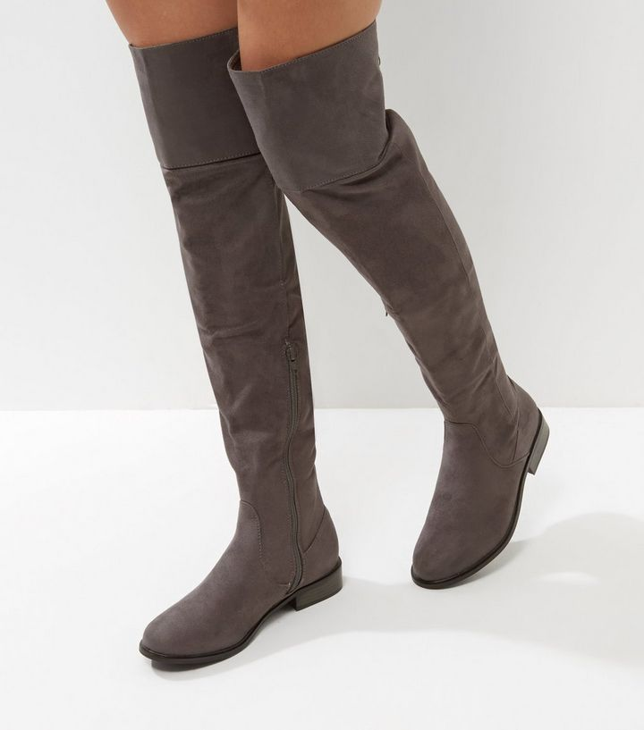 Grey Suedette Flat Over The Knee Boots | New Look