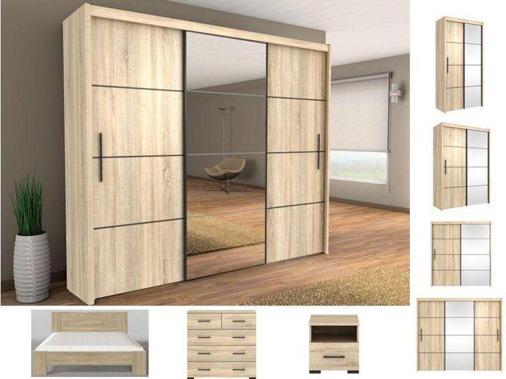 Modern Bedroom Set sliding door wardrobe, chest of drawers bedside oak sonoma