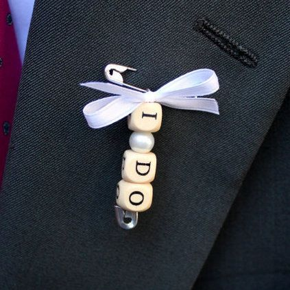 Safety Pin Boutonniere/Bouquet Charm I DO by creativebyheart, $14.00