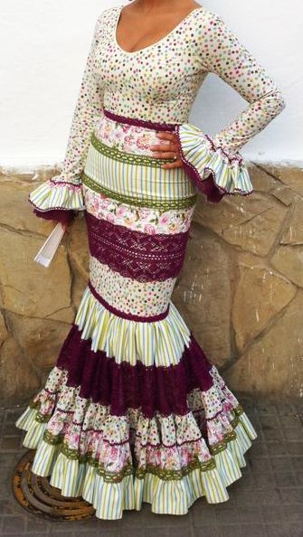 traje flamenca blanco negro - Google Search