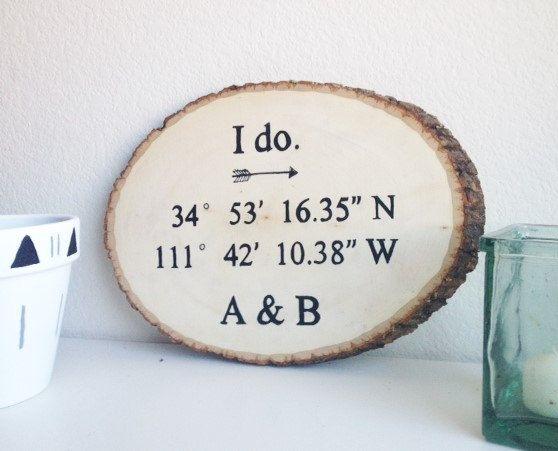 Coordinates Sign  Wood Slice  Latitude by EarthyModernDesigns