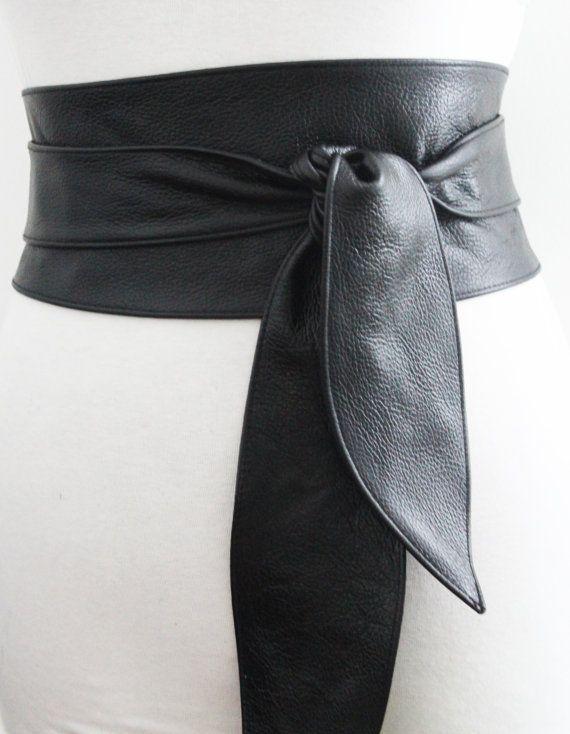 SALE Black Belt  Black Leather Obi Belt tulip tie by LoveYaaYaa
